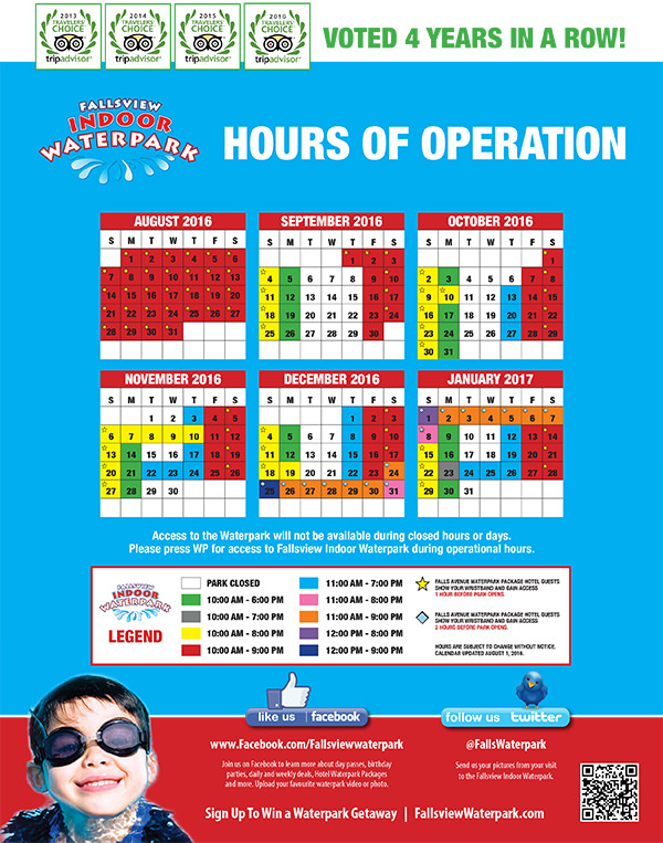 Fallsview Indoor Waterpark Hours of Operation