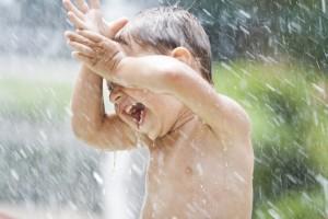 Boy having fun in water