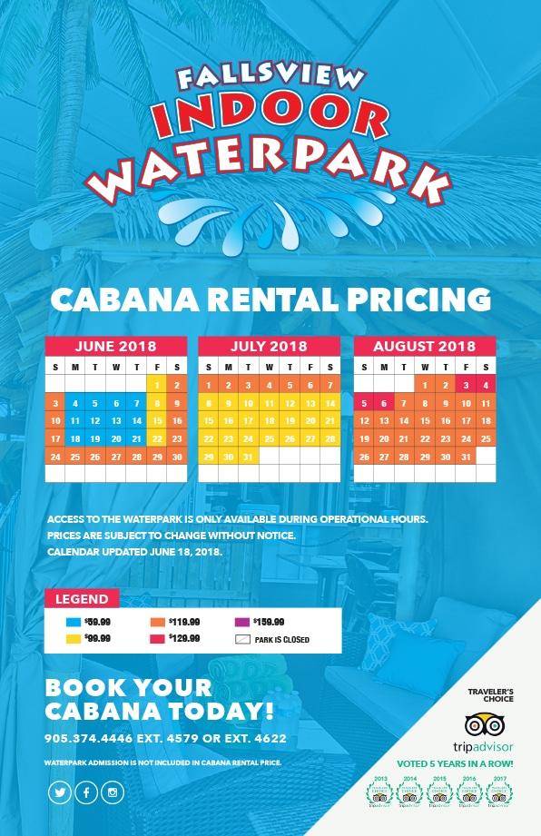 Fallsview Indoor Waterpark Cabana Pricing
