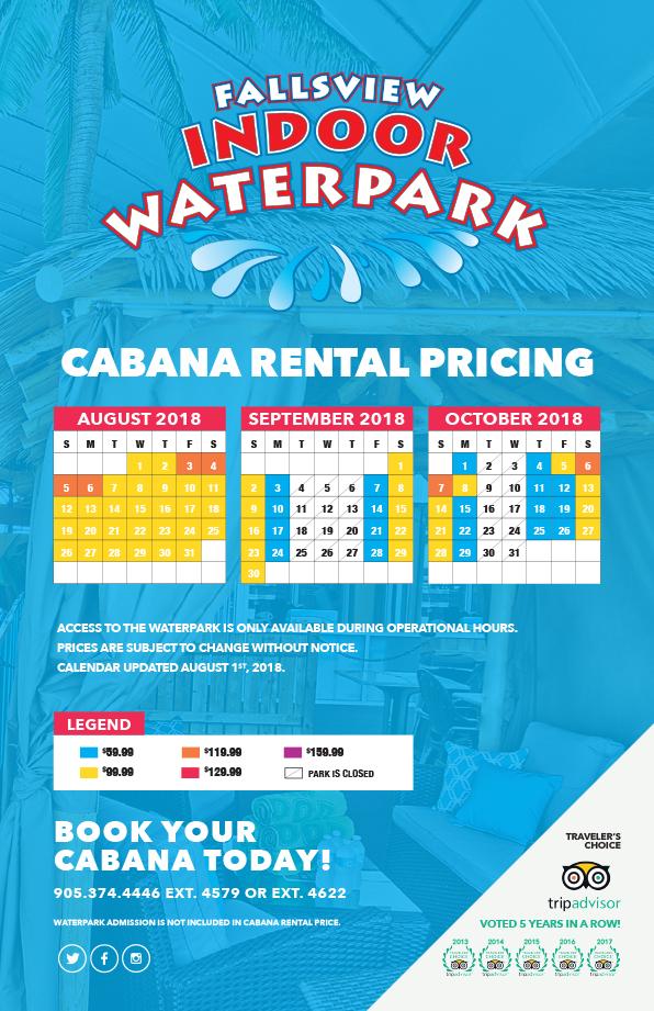 Cabana Pricing Calendar